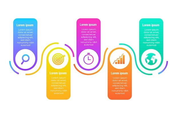 Infográfico gradiente colorido
