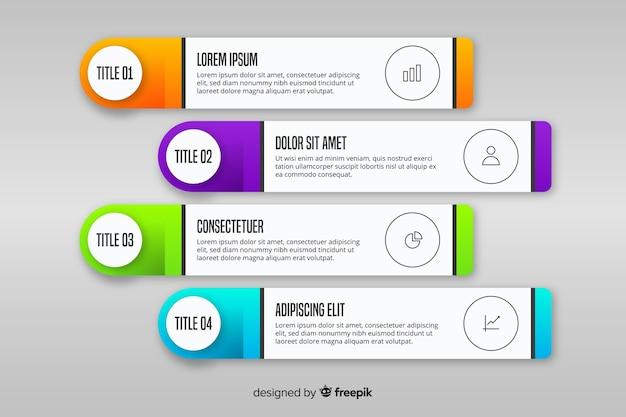 Infográfico gradiente com caixas de texto