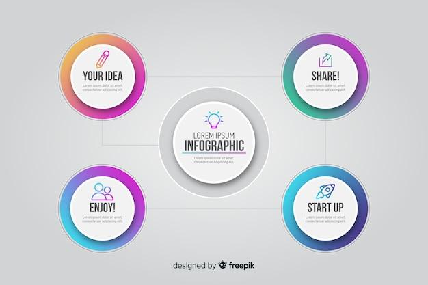 Infográfico gradiente com círculos conectados
