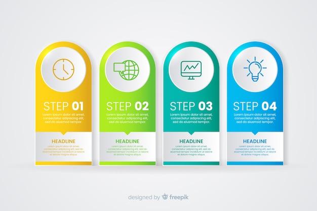 Infográfico gradiente com diferentes etapas