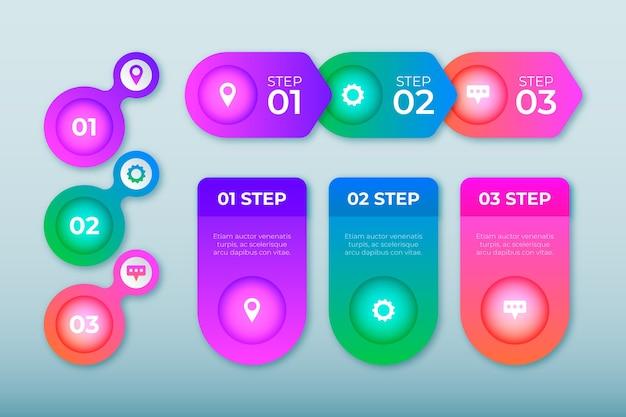Infográfico gradiente com ícones e texto