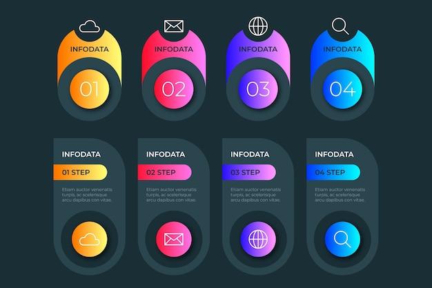 Infográfico gradiente com pontos e pictogramas