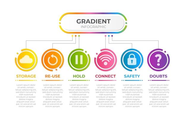Infográfico gradiente multicolorido