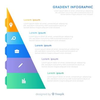 Infográfico gradiente piramidal com texto