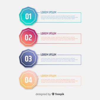 Infográfico gradiente plana com etapas
