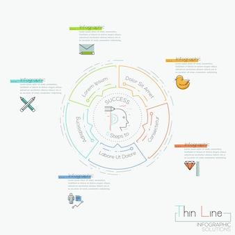 Infográfico, gráfico circular com 5 elementos localizados ao redor de caixas de texto e pictograma centrais