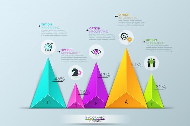 Infográfico, gráfico de barras com 5 elementos triangulares multicoloridos separados