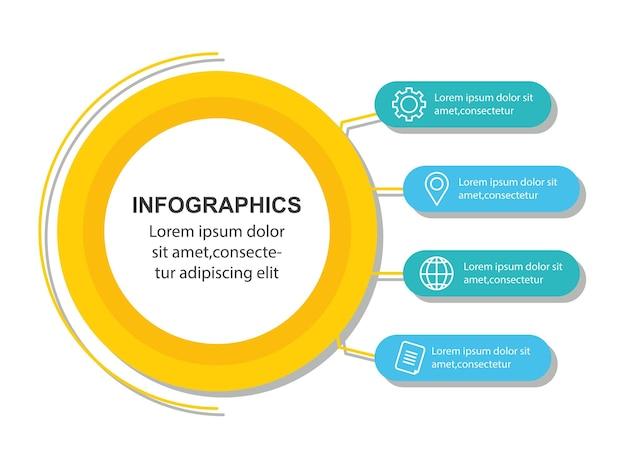 Infográfico, gráfico de processo de dados de negócios, diagrama com etapas, opções, peças ou processos