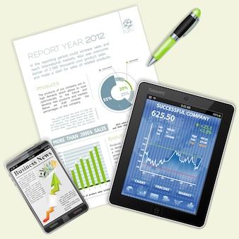 Infográfico, gráficos e notícias sobre negócios