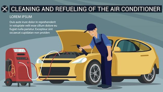 Infográfico homem trabalhador limpa o carro amarelo de condicionador de ar