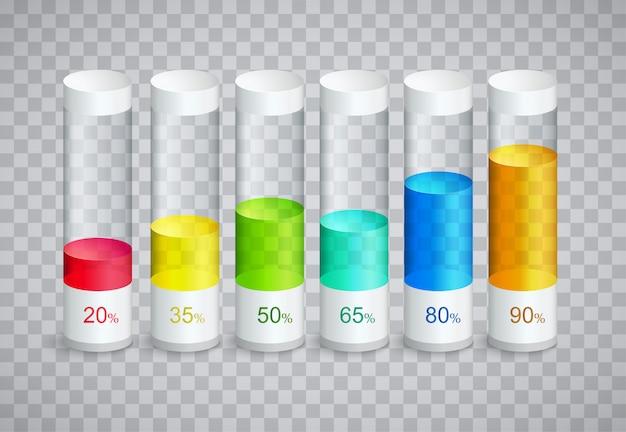 Infográfico ícones com 6 partes de colunas em porcentagem de crescimento
