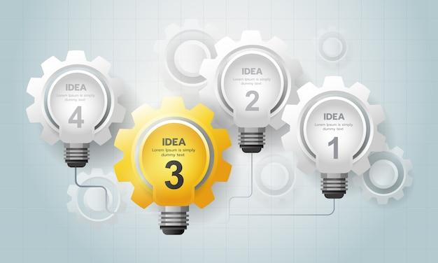 Infográfico idéia de lâmpada com engrenagem se comunicar uns com os outros.
