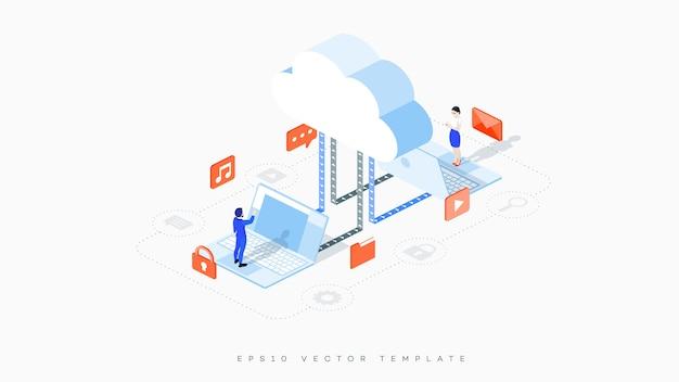 Infográfico ilustração de hospedagem em nuvem.