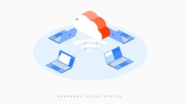 Infográfico ilustração vetorial de hospedagem em nuvem.