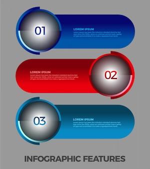 Infográfico ilustração vetorial de três cores