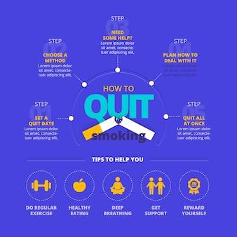 Infográfico ilustrado de como parar de fumar