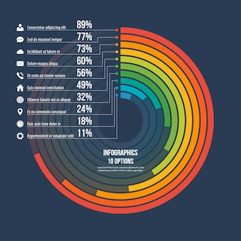 Infográfico informativo círculo opções de gráfico 10.
