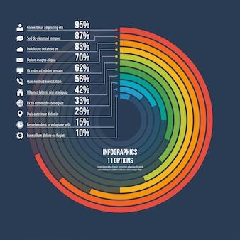 Infográfico informativo círculo opções de gráfico 11.