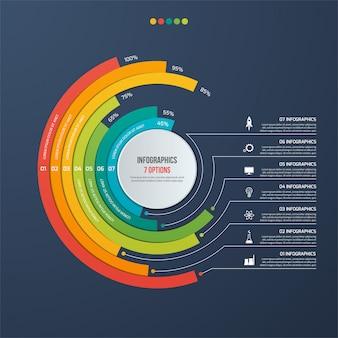 Infográfico informativo do círculo com 7 opções
