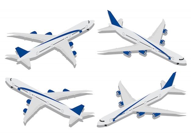 Infográfico isométrica elementos aviões de passageiros. conceito de viagem no estilo isométrico hora de viajar.