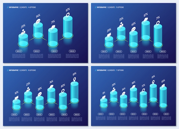 Infográfico isométrica moderna projetos, gráficos, modelos, conceito