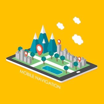 Infográfico isométrico 3d de conceito de navegação móvel com cena da cidade apareceu do tablet