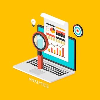 Infográfico isométrico 3d de conceito de negócio com laptop mostrando análise de dados