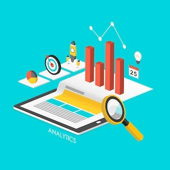 Infográfico isométrico 3d de conceito de negócio com tablet mostrando análise de dados