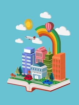 Infográfico isométrico 3d do conceito de conhecimento com um livro que mostra a bela cena da cidade