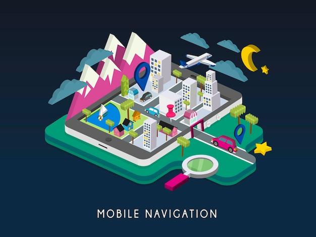 Infográfico isométrico 3d do conceito de navegação móvel com tablet mostrando o mapa da cidade