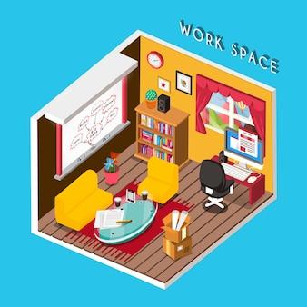 Infográfico isométrico 3d para um espaço de trabalho aconchegante sobre o azul