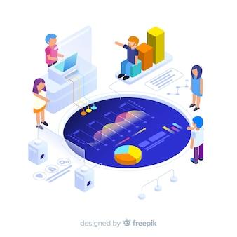 Infográfico isométrico com gráficos e pessoas