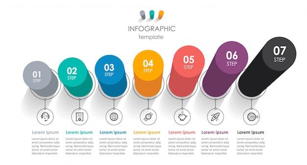 Infográfico isométrico design com ícones e 7 opções ou etapas. infografia para o conceito de negócio.