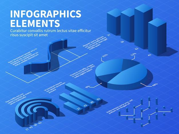 Infográfico isométrico. gráficos de estatísticas 3d e gráficos de crescimento, diagramas de porcentagem.
