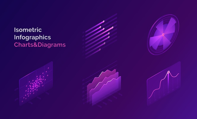 Infográfico isométrico gráficos e diagramas