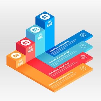 Infográfico isométrico modelo