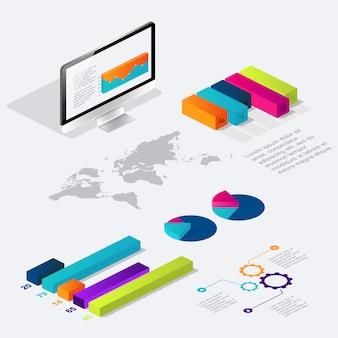 Infográfico isométrico plano 3d para suas apresentações de negócios.