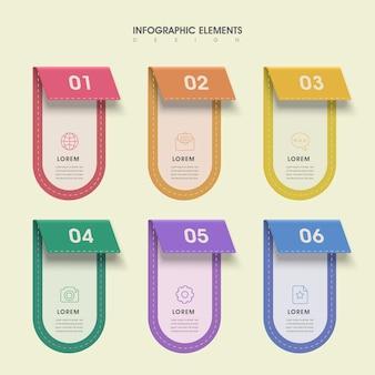 Infográfico lindo com elementos de rótulos coloridos