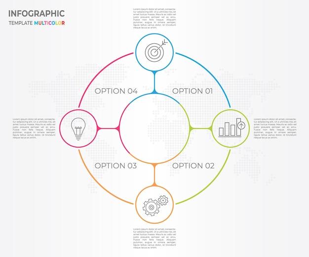Infográfico linha fina círculo design 4 opções.