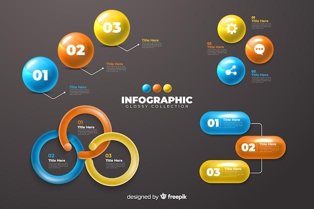 Infográfico lustroso conjunto de modelo de coleção de elementos