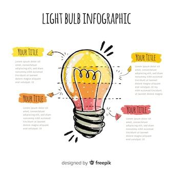 Infográfico mão desenhada lâmpada de fundo