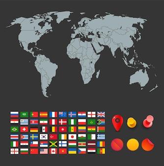 Infográfico. mapa-múndi, bandeira e alfinetes coloridos