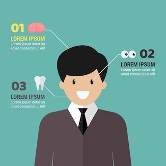 Infográfico médico com caráter do homem. ilustração vetorial