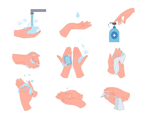 Infográfico médico com conjunto de ilustrações para lavagem das mãos