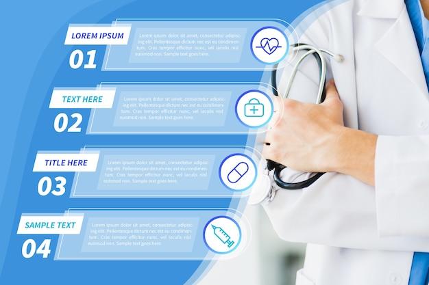 Infográfico médico com estetoscópio