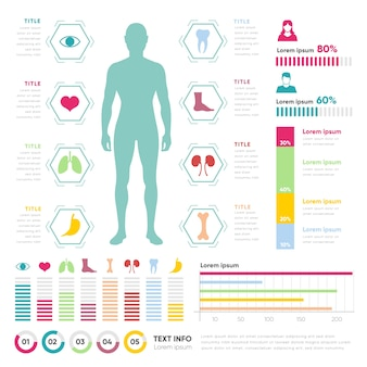 Infográfico médico com homem e gráficos