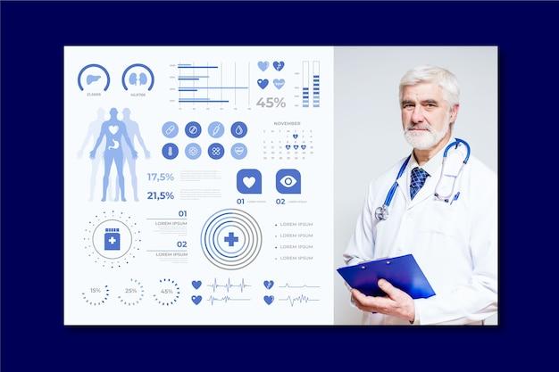 Infográfico médico com médico profissional