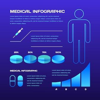Infográfico médico futurista com gráficos azuis