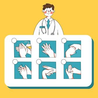 Infográfico médico masculino explicando como lavar a mão modelo doodle ilustração