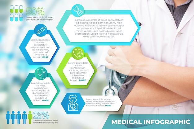 Infográfico médico profissional com foto
